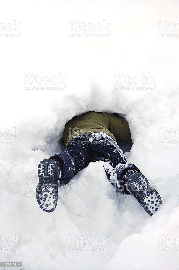 Stuck in snow stock photo