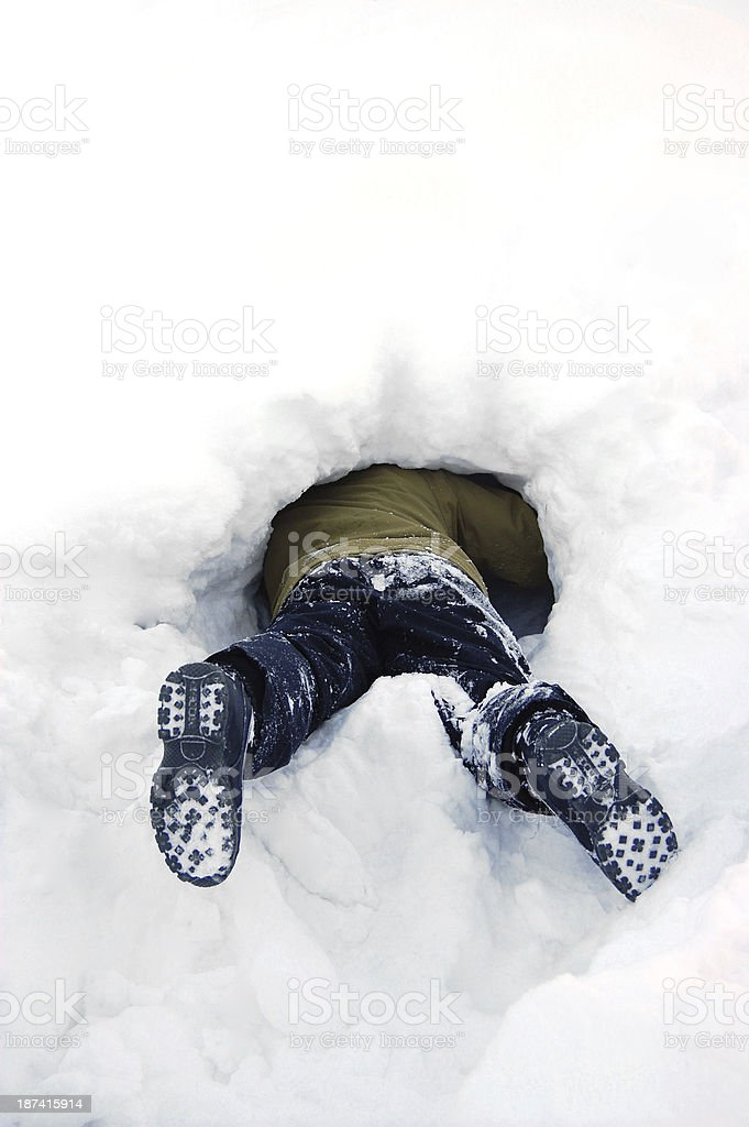 Stuck in snow stock photo