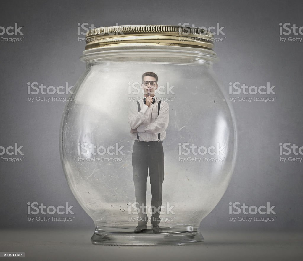 Stuck in the jar stock photo