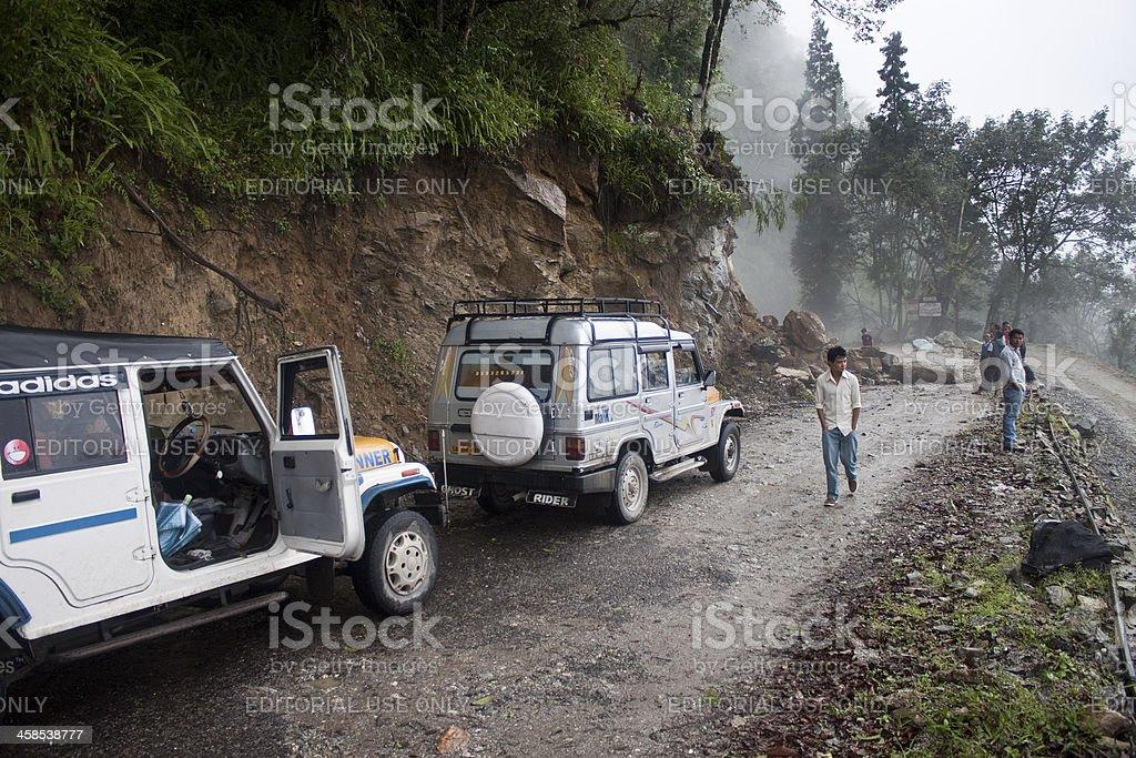 Stuck POVs because of landslide royalty-free stock photo