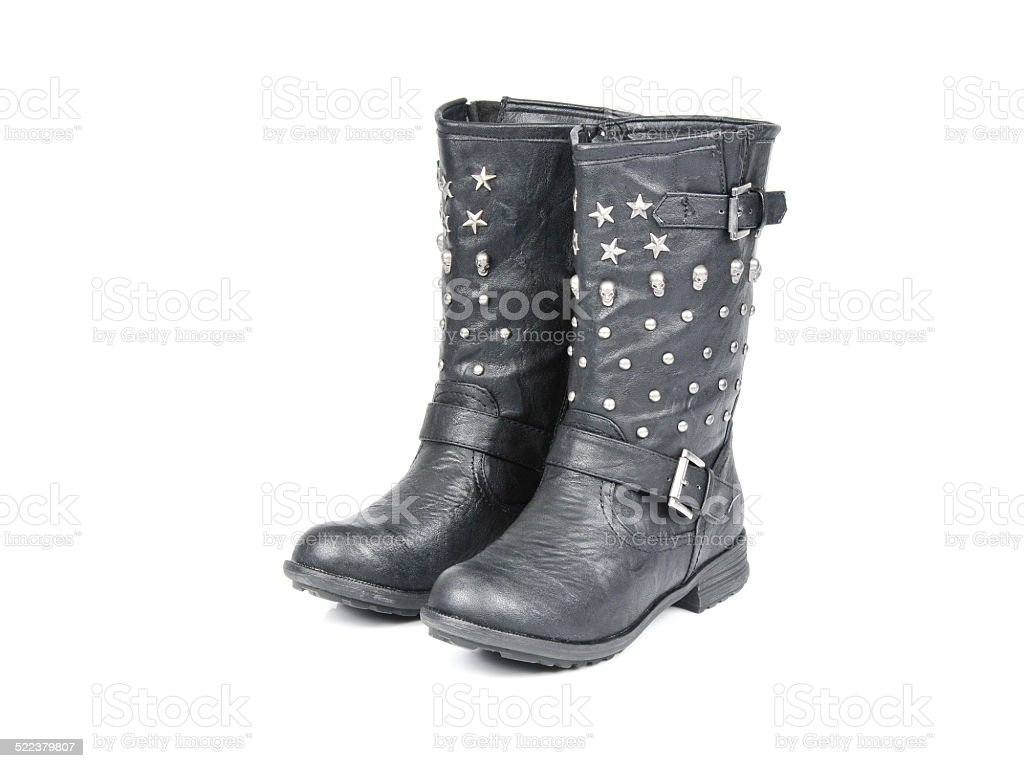 Studded Buckle-Strap Motorcycle Boots. From Side stock photo