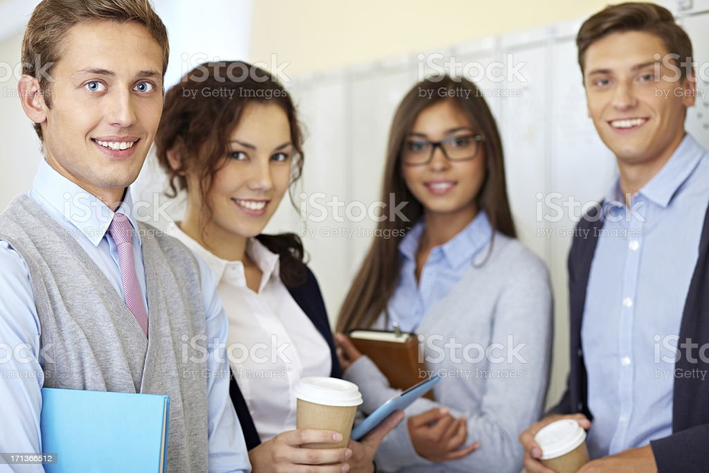 Student and his friends royalty-free stock photo