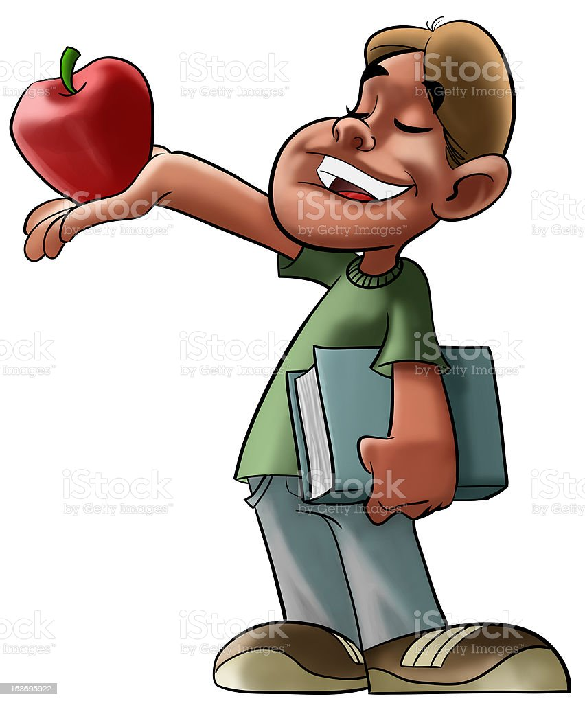 student and red apple royalty-free stock photo
