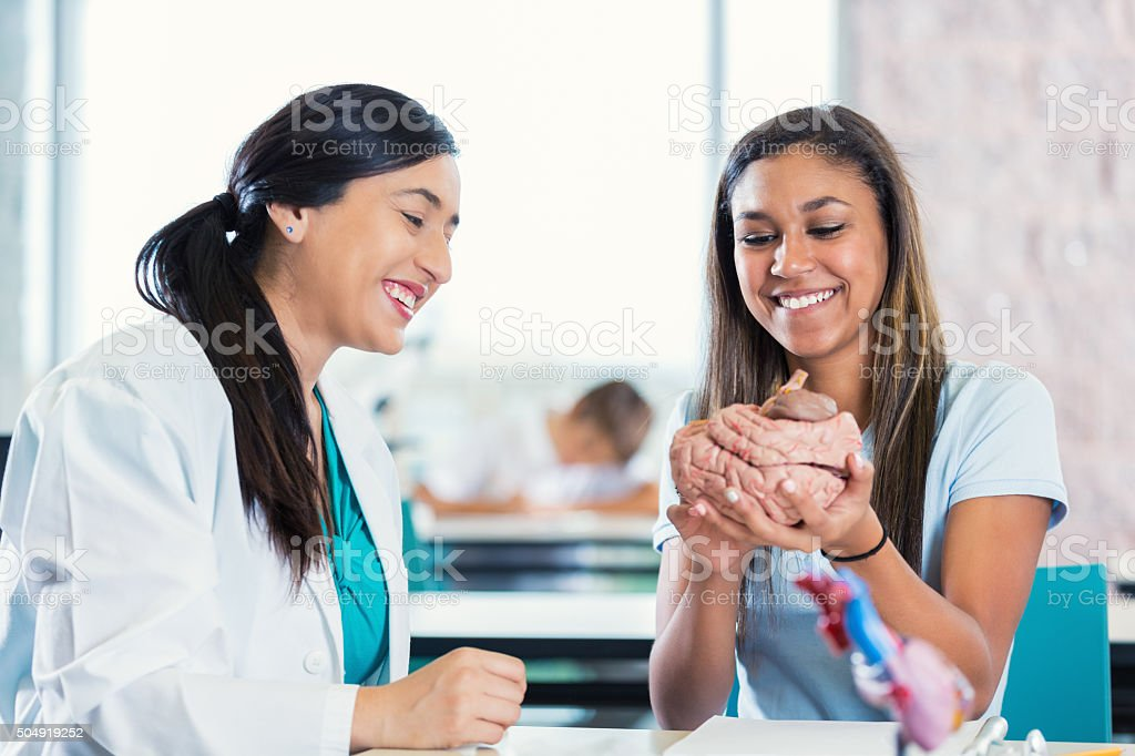 Student and teacher in private high school science class studying stock photo