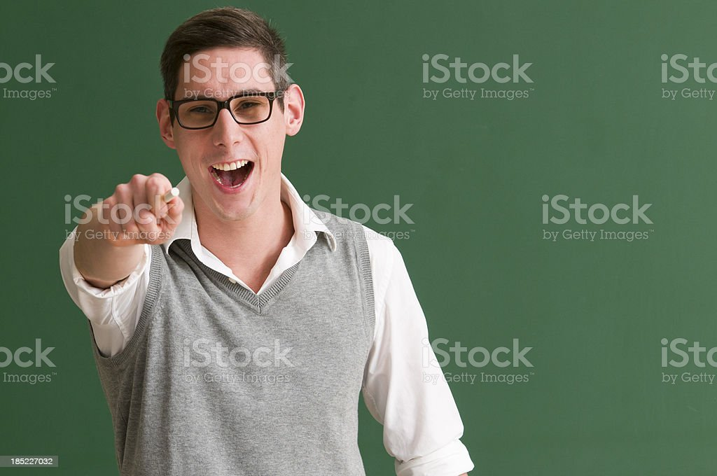 student at blackboard royalty-free stock photo