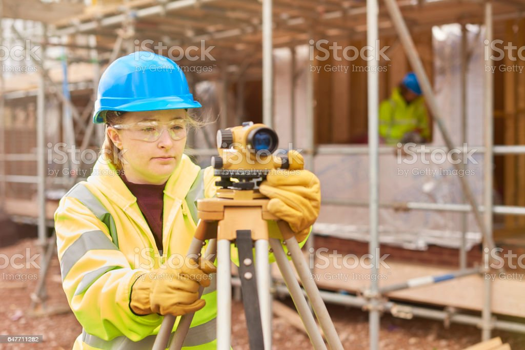 student at construction college stock photo