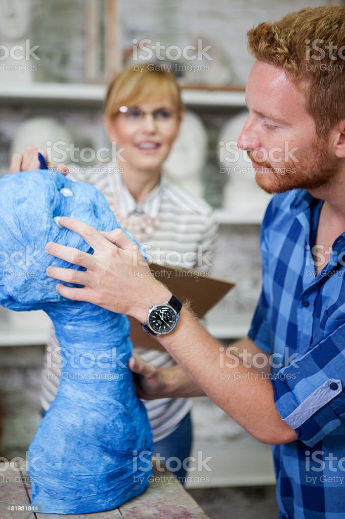 Student at sculpting classes and workshops stock photo