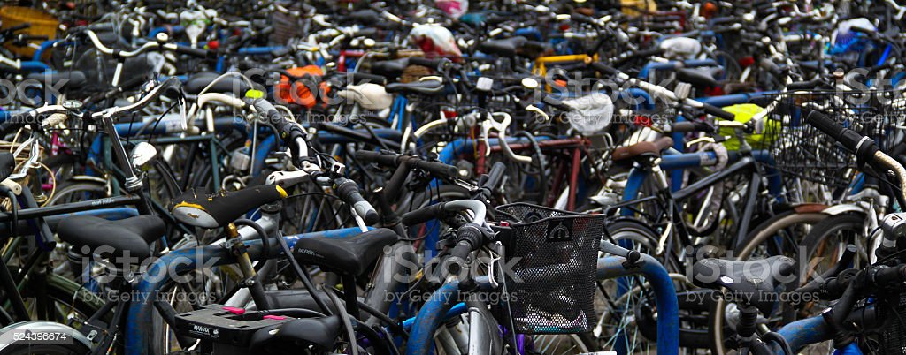 student bicycles in england university town stock photo
