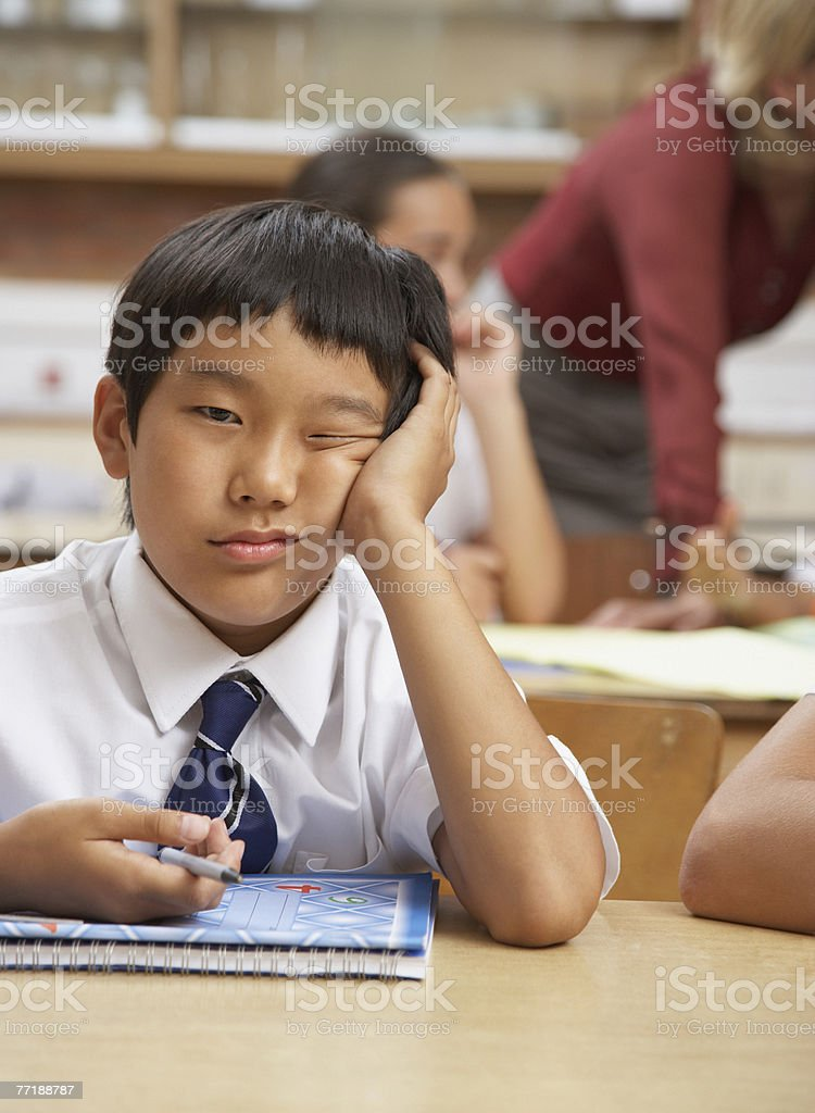 A student bored in class royalty-free stock photo