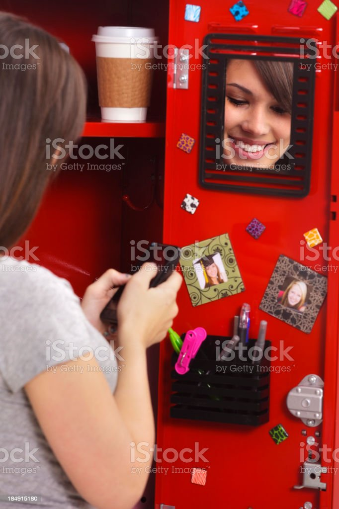 Student by a Locker stock photo
