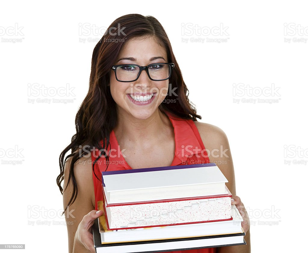 Student carrying her school books royalty-free stock photo