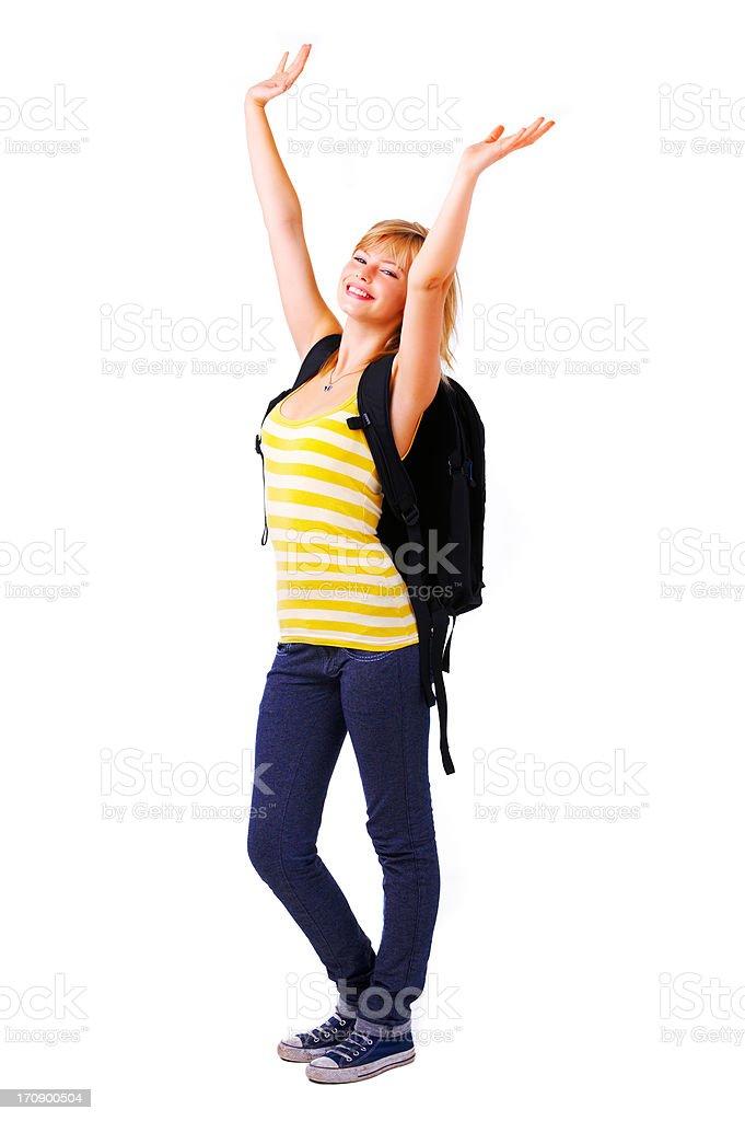 Student celebrating royalty-free stock photo