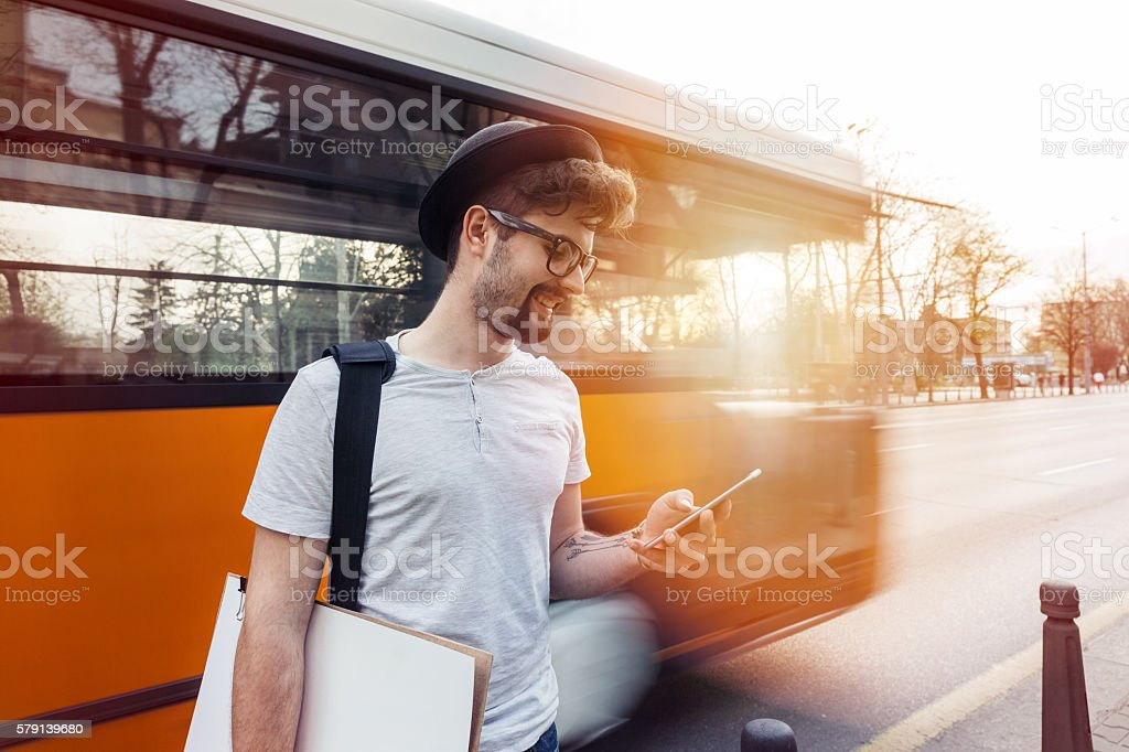 Student chatting on cell phone stock photo