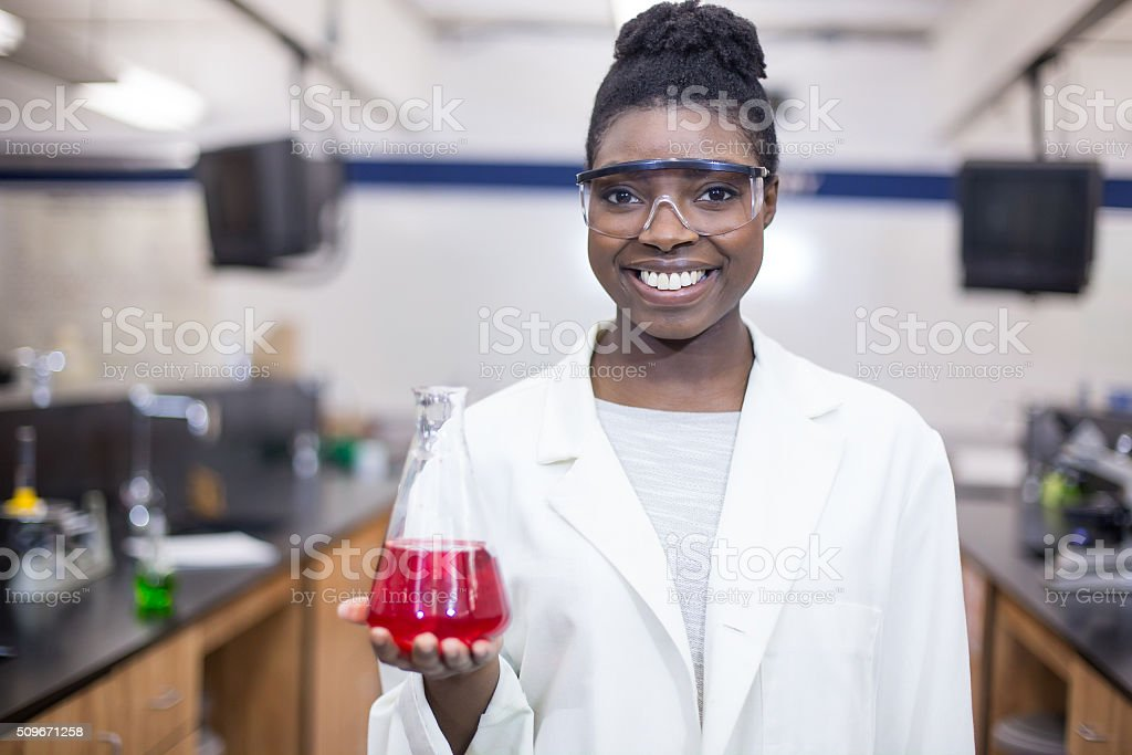 Student chemist studying science stock photo