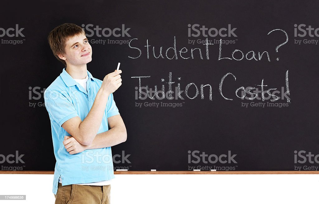 Student Contemplating About Education Cost Tuition and Loan royalty-free stock photo