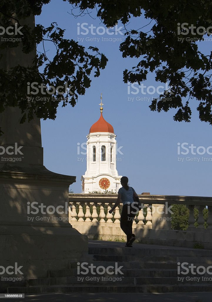 Student crossing bridge and Red dome cupola stock photo