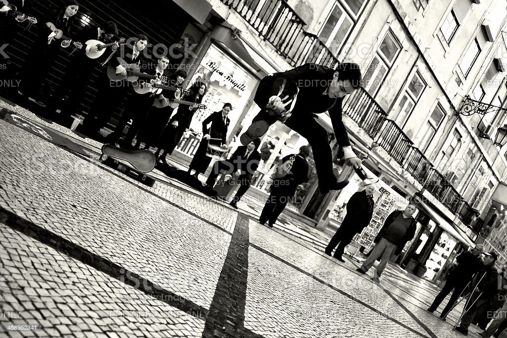 Student Dancing in Lisbon stock photo