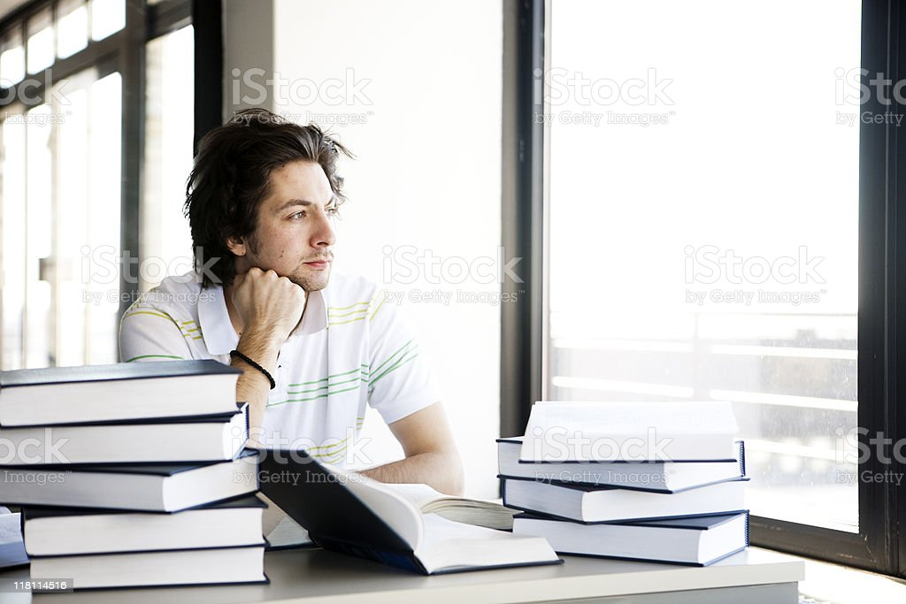 Student day dreaming royalty-free stock photo