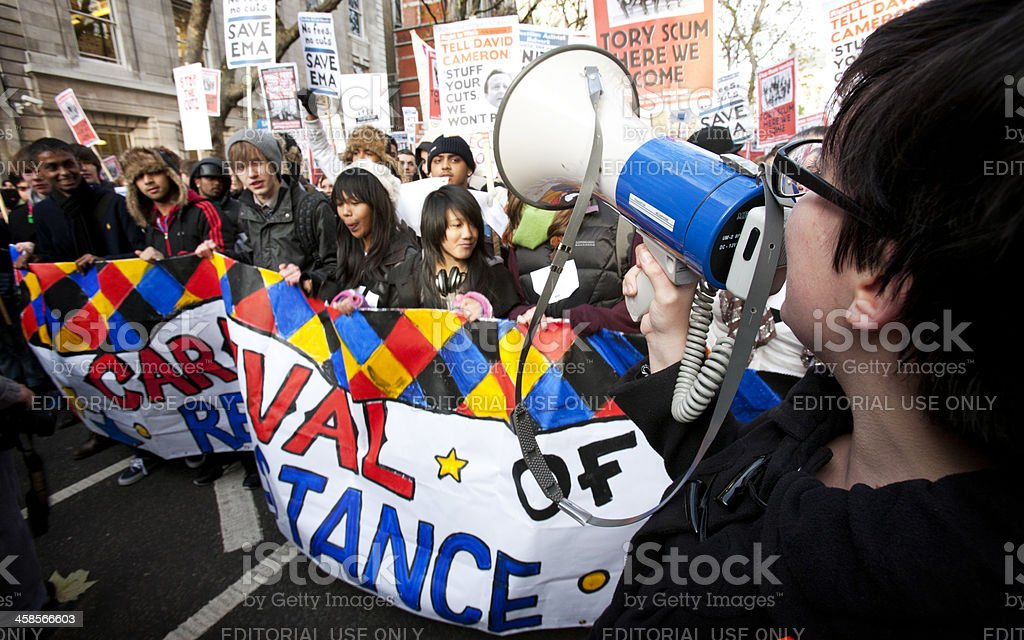 Student Demonstrators, London stock photo