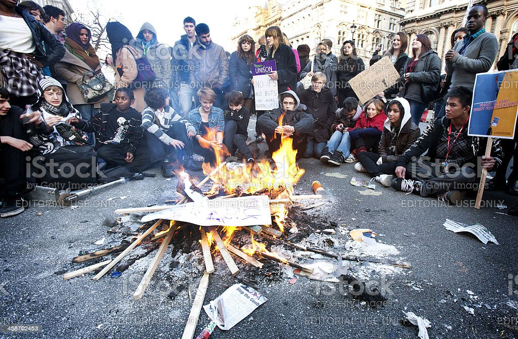 Student Demonstrators, London stock photo