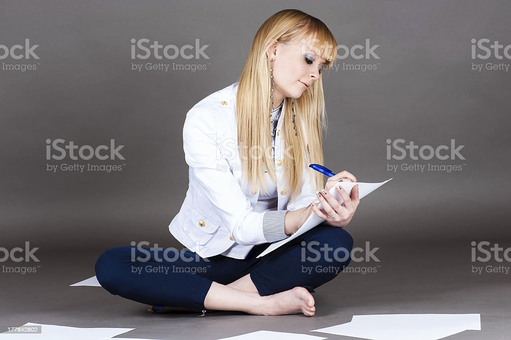 student diligently wrote royalty-free stock photo