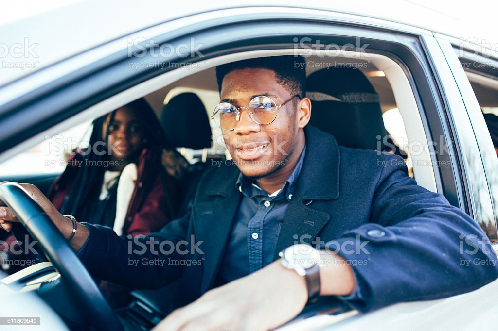 Student driving a car stock photo