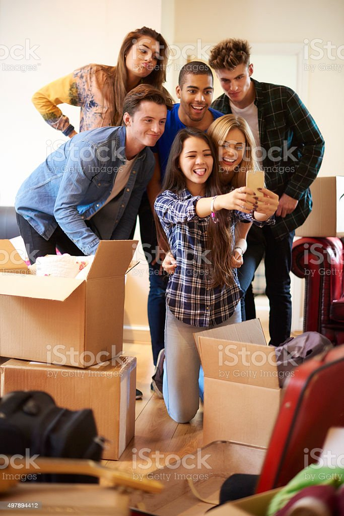 student flat roommate selfie stock photo