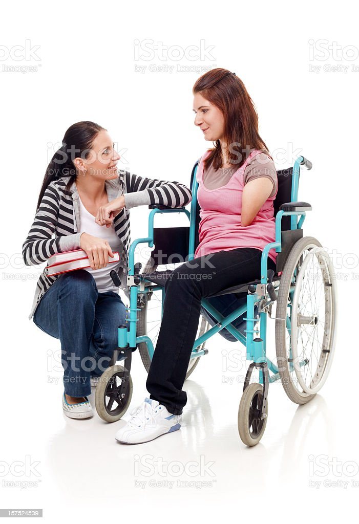 Student Friends, One In Wheelchair stock photo