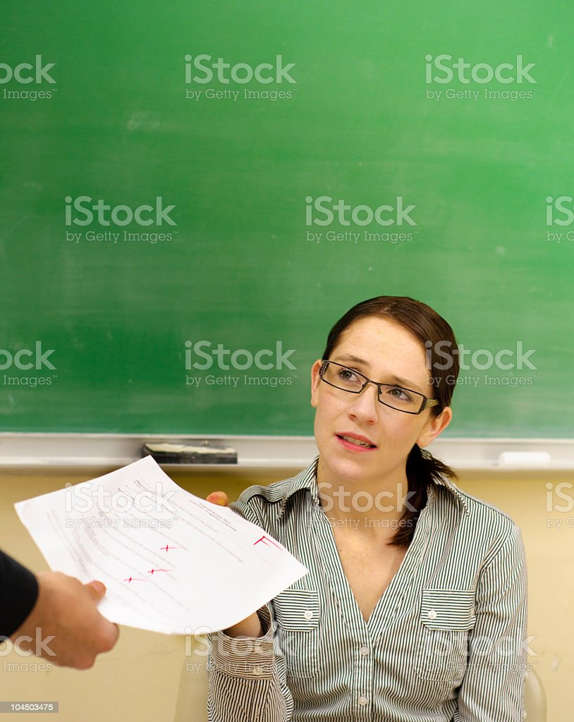 Student gets an F stock photo