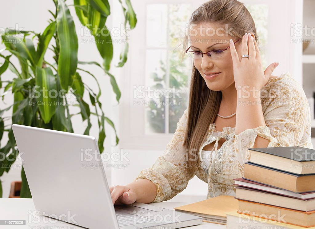 Student girl learing with laptop royalty-free stock photo