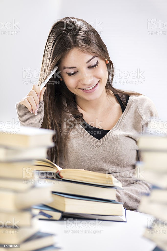 Student girl learning royalty-free stock photo