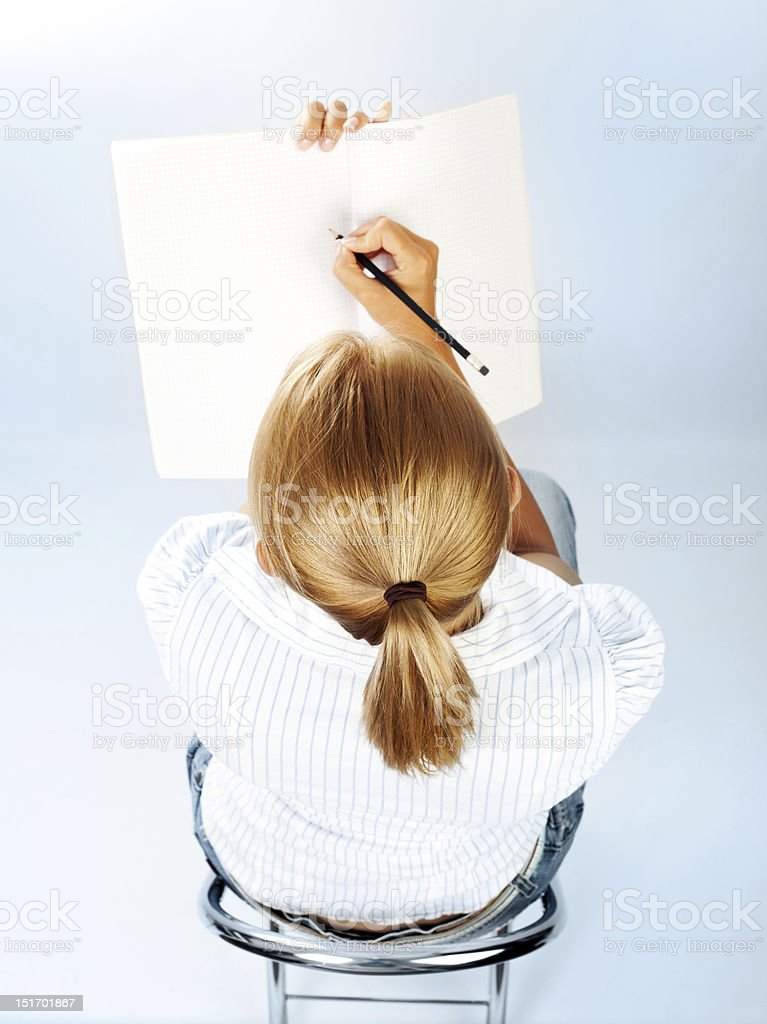 Student girl passing exams royalty-free stock photo