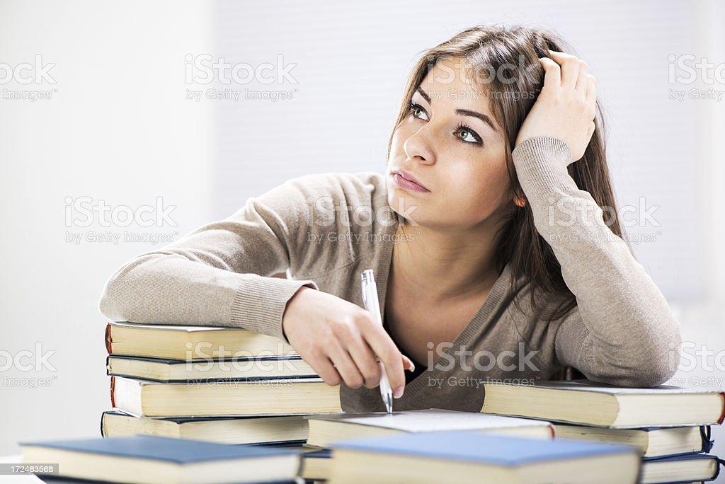 Student girl thinking royalty-free stock photo