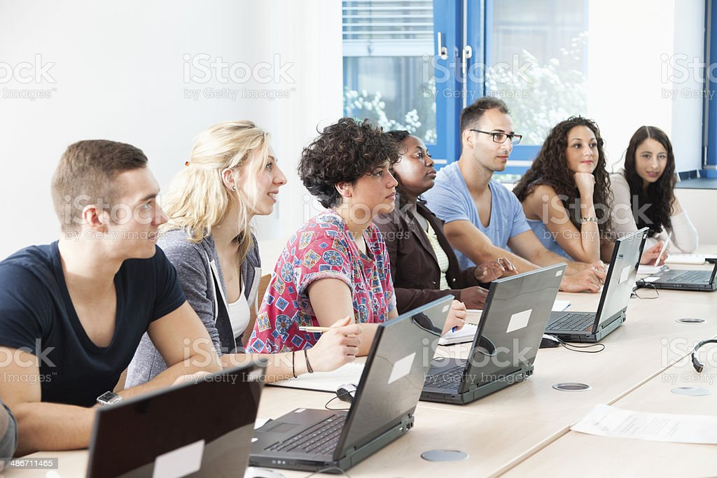 student group in classroom with pc royalty-free stock photo