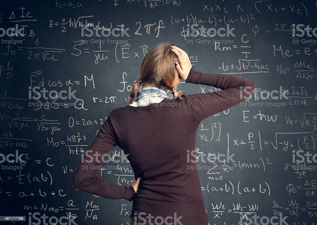 Student have a problem with mathematics stock photo