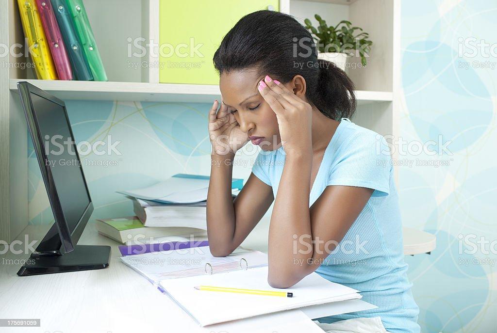 Student headaches. royalty-free stock photo