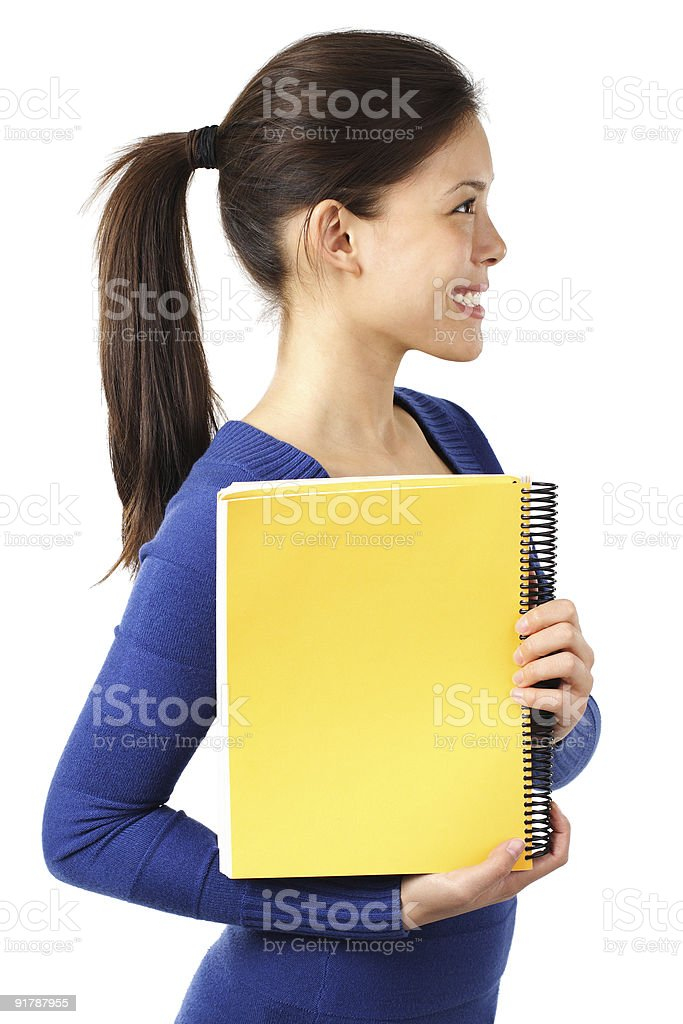 Student holding blank sign royalty-free stock photo
