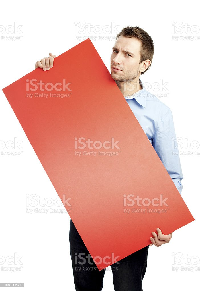 Student holding red board stock photo