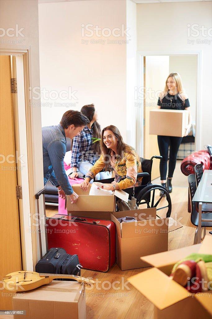 student housemates moving into halls stock photo