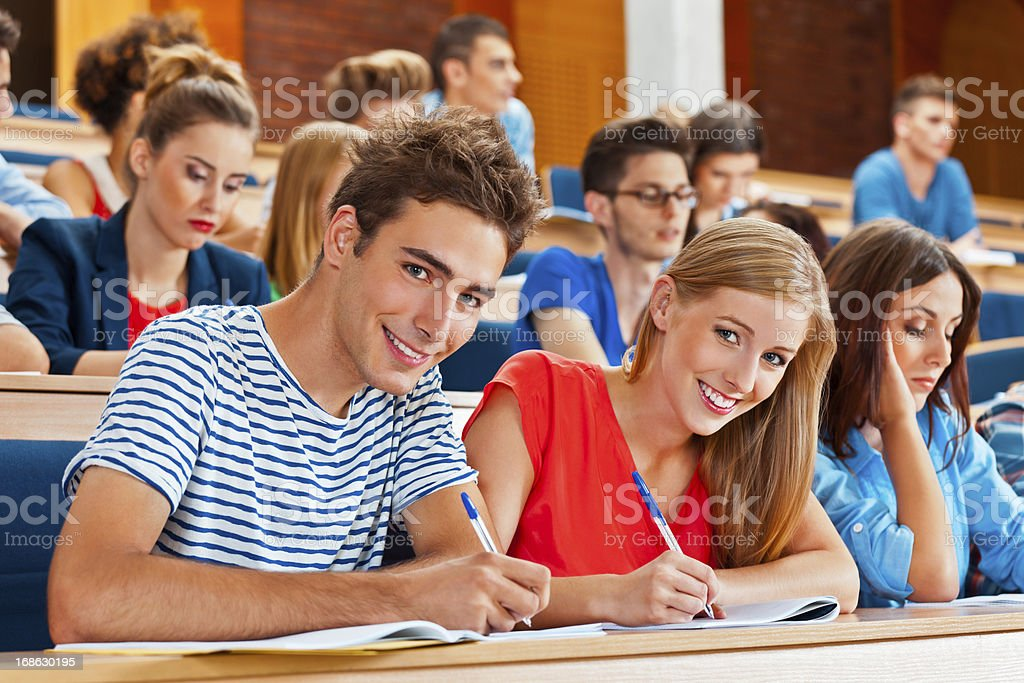 Student in a lecture hall royalty-free stock photo