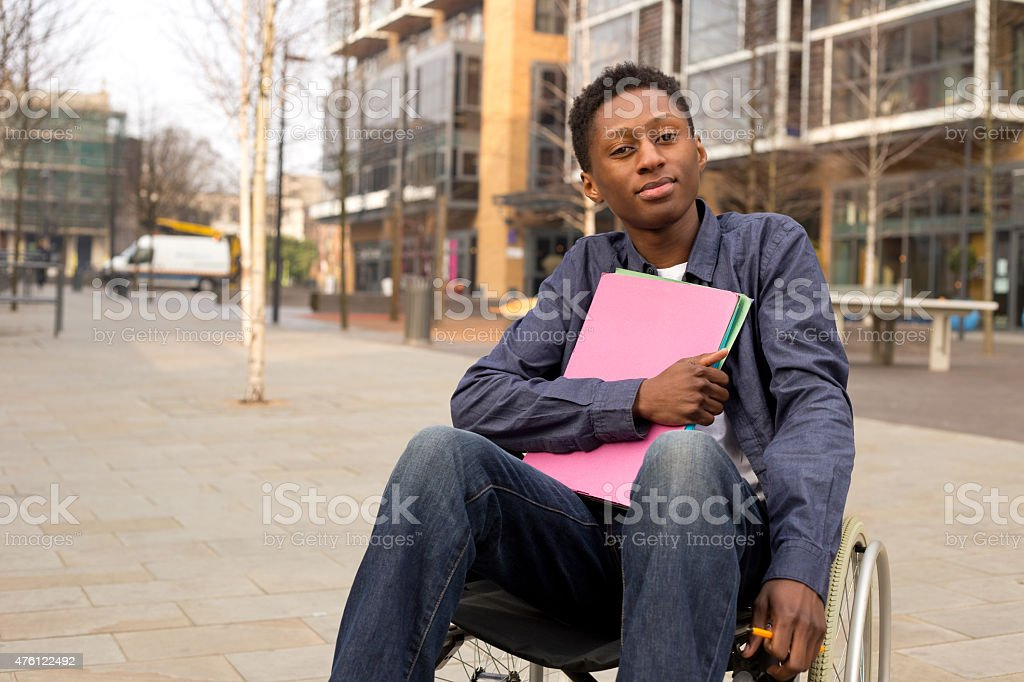 student in a wheelchair royalty-free stock photo