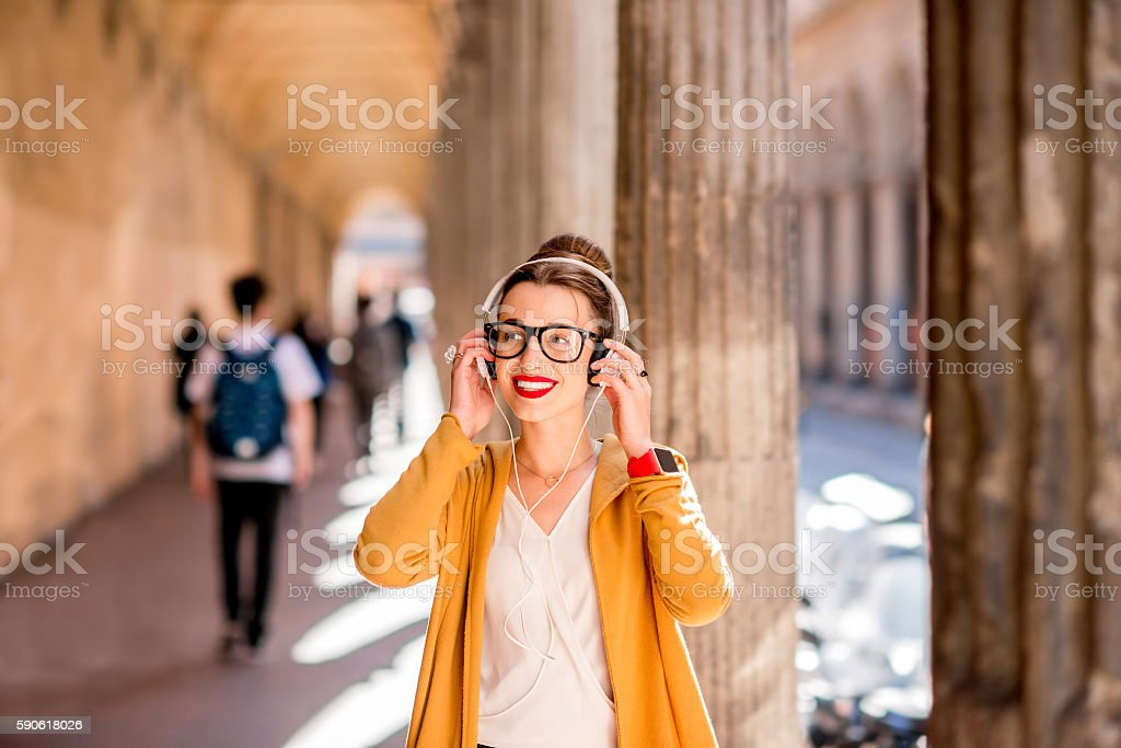 Student in Bologna city stock photo