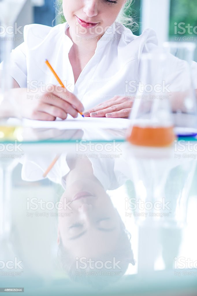 Student in chemistry class stock photo