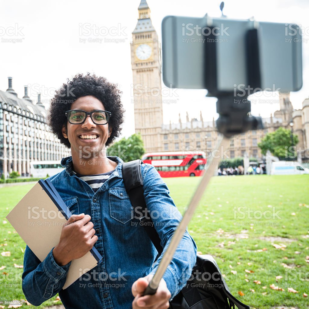 Student in London make a selfie stock photo
