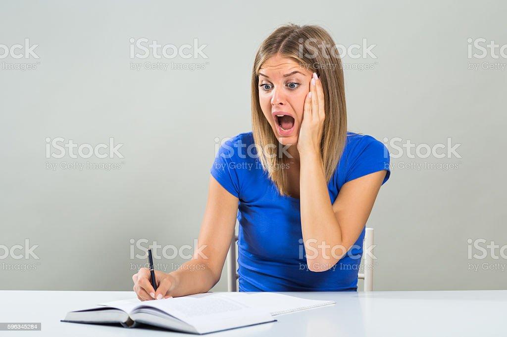 Student in panic stock photo