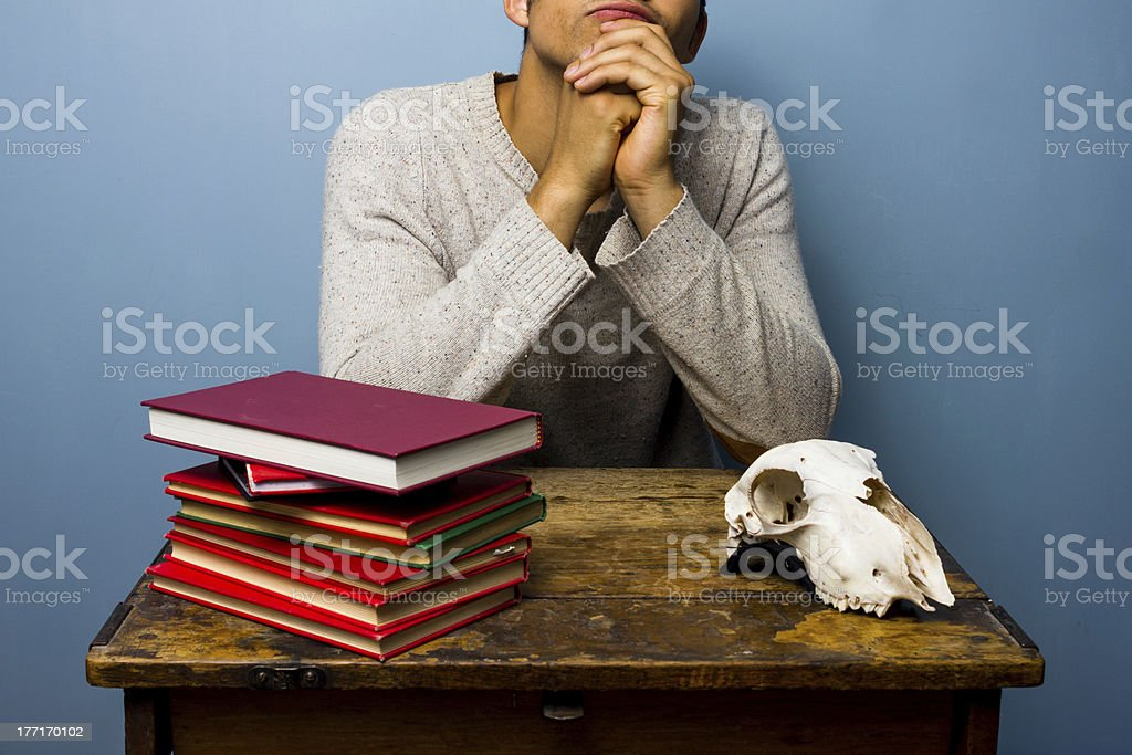 Student is cotemplating life royalty-free stock photo