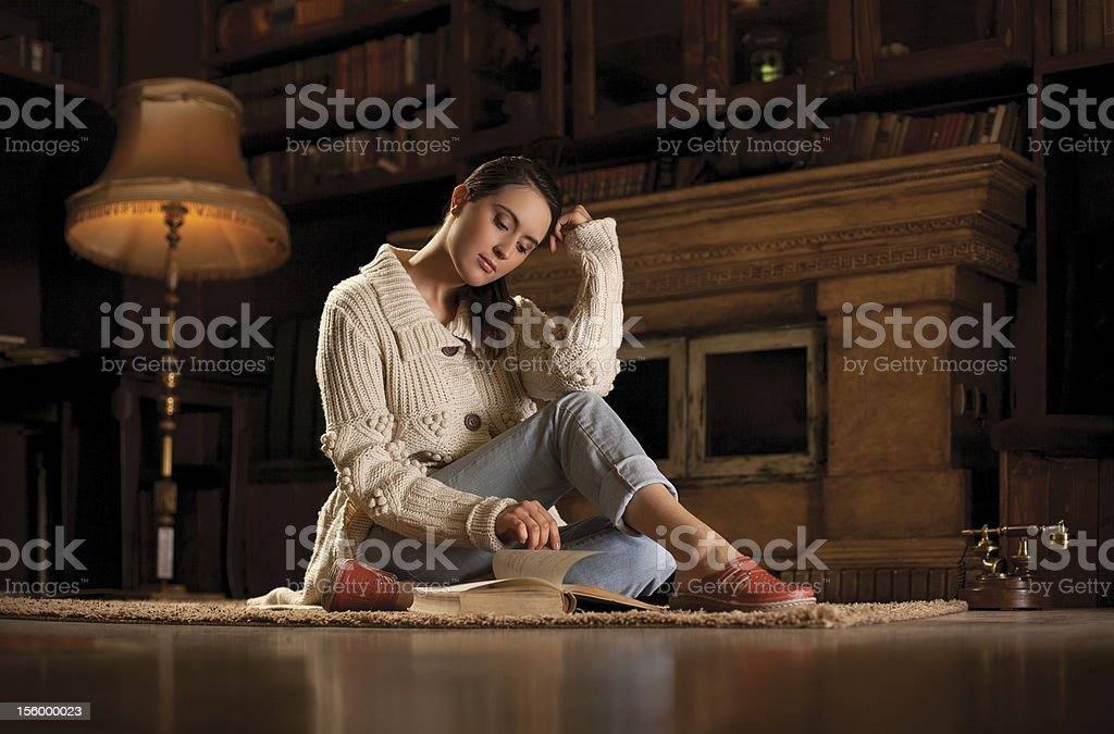 Student leraning in the library royalty-free stock photo