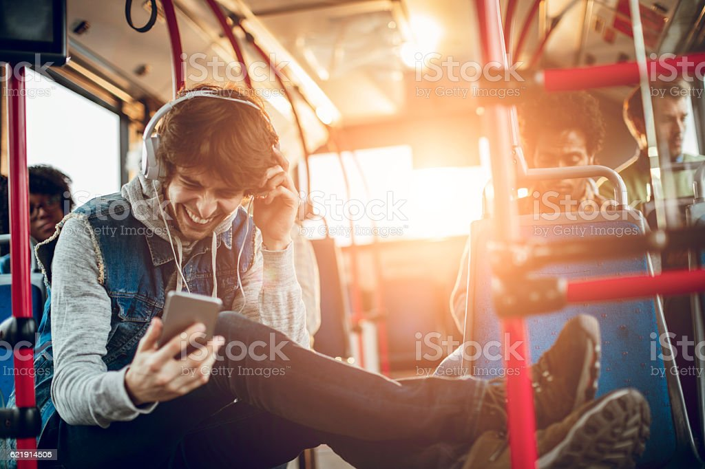 Student listening to music stock photo