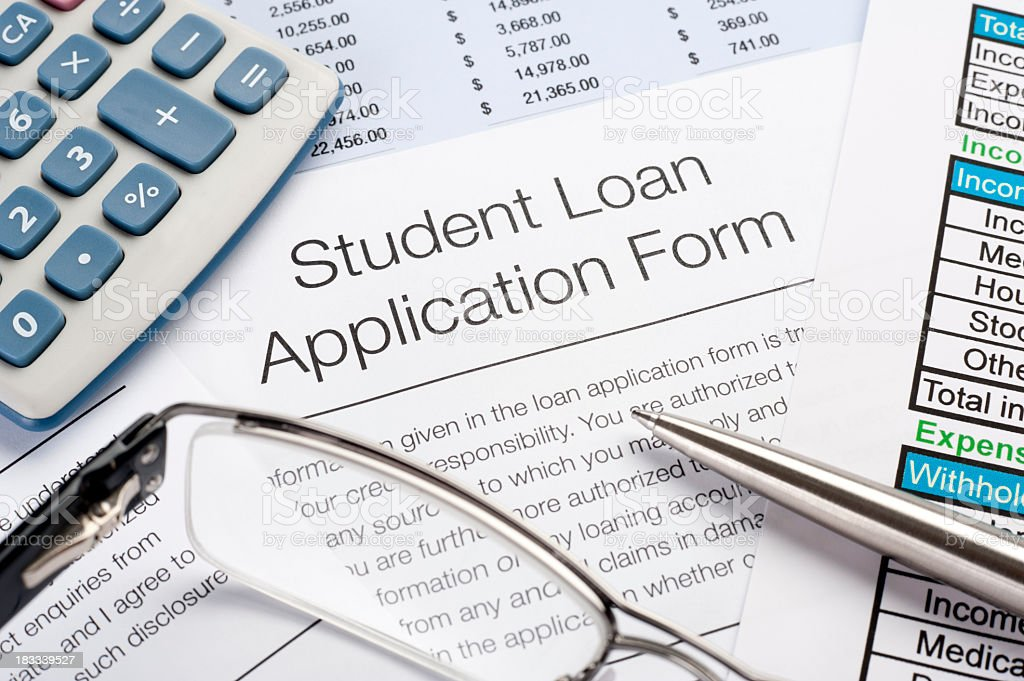 Student Loan application Form with pen, calculator royalty-free stock photo