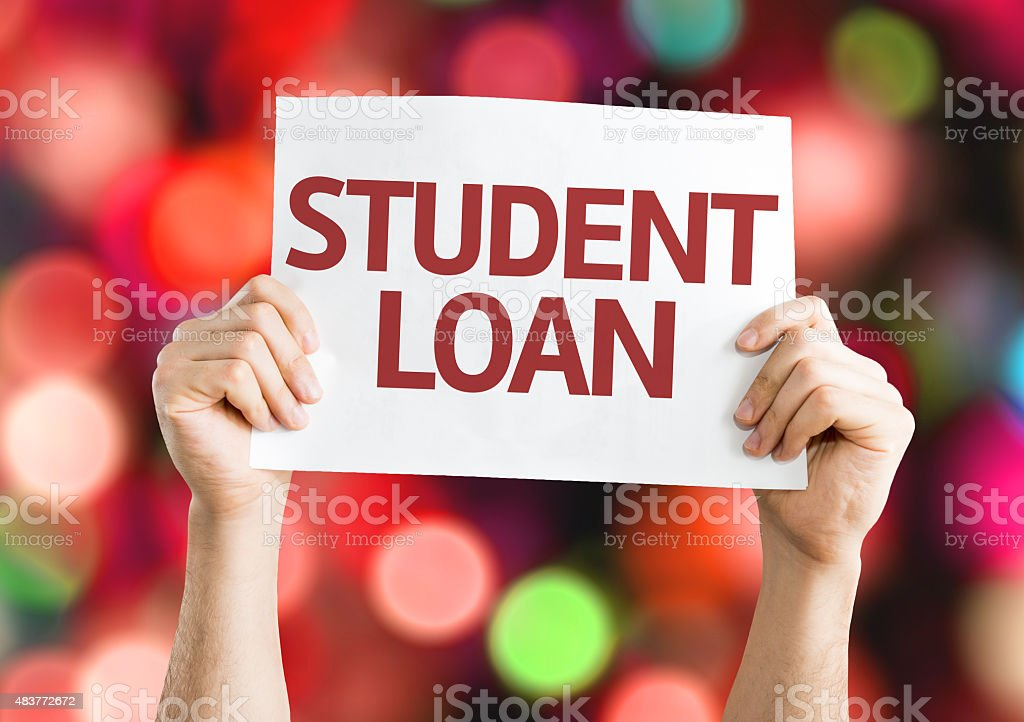 Student Loan card with bokeh background stock photo